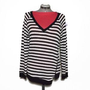 Sanctuary Black White Stripe Loose Weave Sweater M